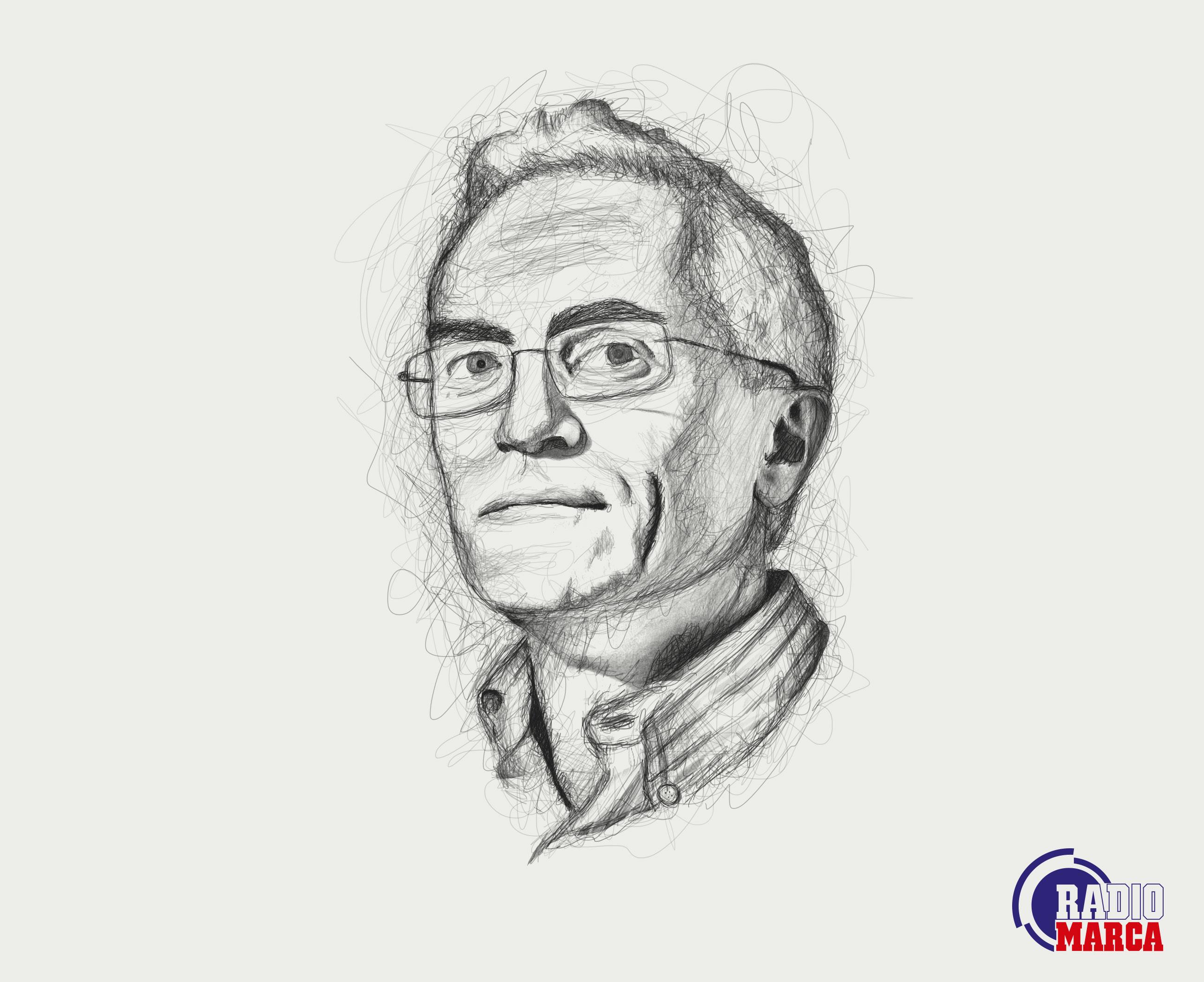 Ilustración retrato Paco García Caridad para RadioMarca